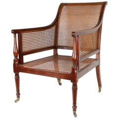 Regency Caned Mahogany Library Chair 'Bergère,' circa 1810
