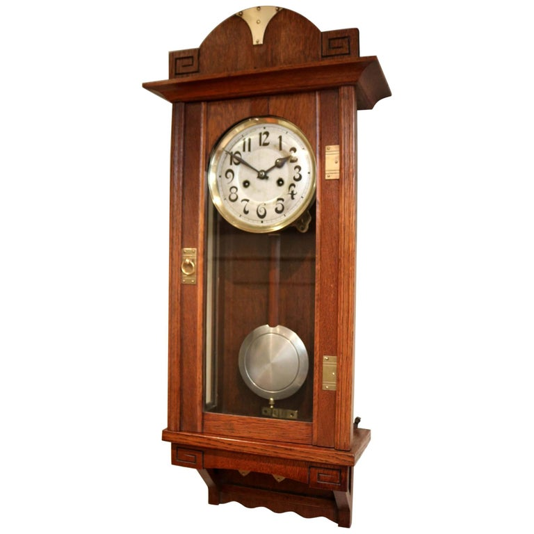 Oak Arts And Crafts Striking Wall Clock For Sale At 1stdibs