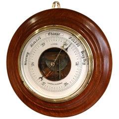 Large Oak Aneroid Barometer