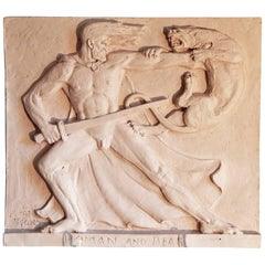 """Hercules and the Nemean Lion"" Dramatic Art Deco Sculptural Panel with Nude Male"