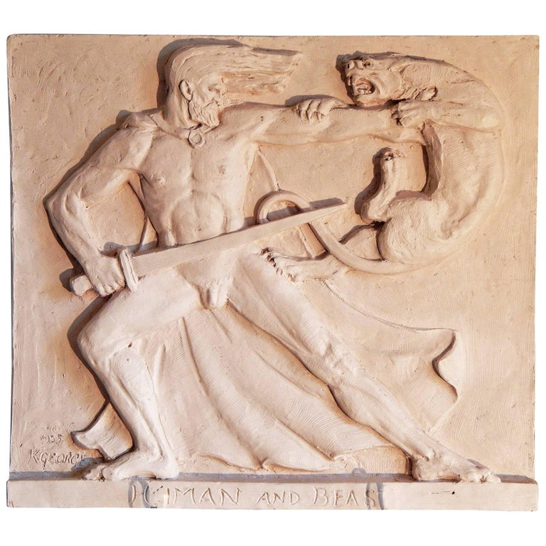 """Hercules and the Nemean Lion"" Dramatic Art Deco Sculptural Panel with Nude Male For Sale"