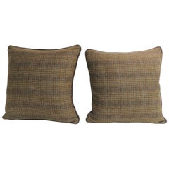 Pair of Vintage Wool Tweed Green and Brown Decorative Pillows