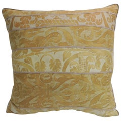 Vintage Yellow Fortuny Uccelli Pattern Decorative Square Pillow