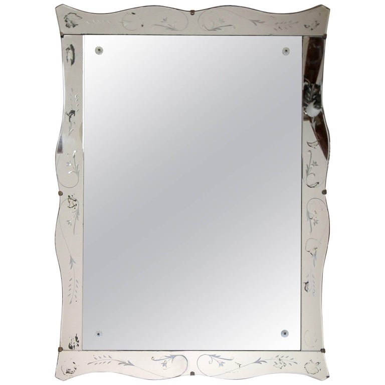 Art Deco Scalloped Etched Wall Mirror