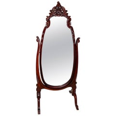 Beautiful and Elegant Late 19th Century Cheval Mirror in Louis XV Style