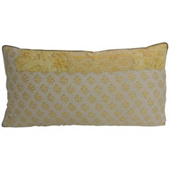 Vintage Fortuny Persiano Textile Yellow and Silver Patchwork Decorative Bolster