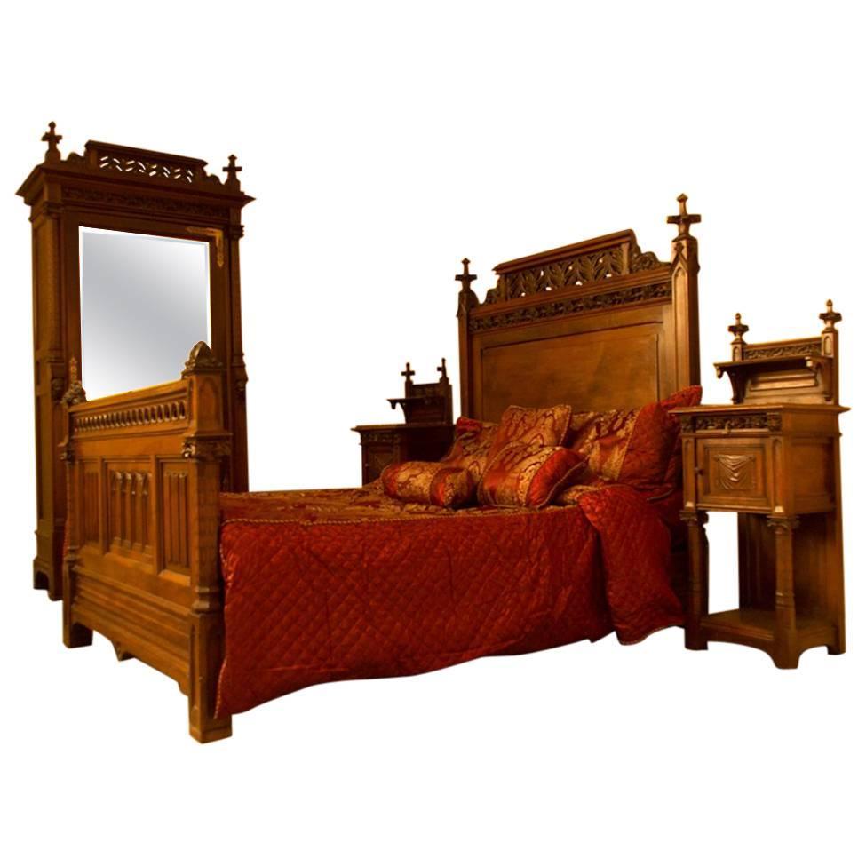 Gothic Revival Bedroom Suite, circa 1870