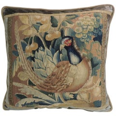 18th Century Aubusson Tapestry Decorative Square Pillow