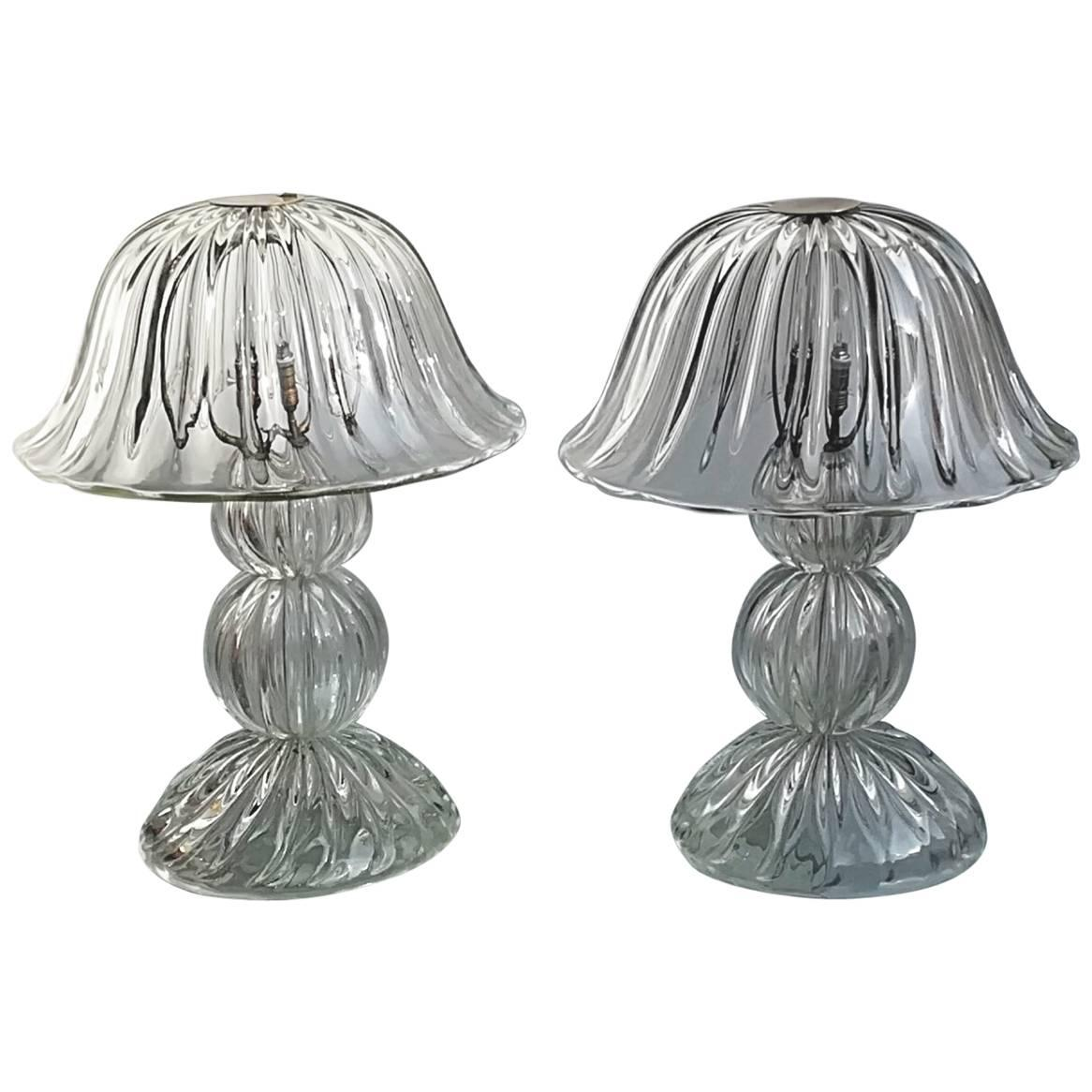 Seguso, Two Table Lamp, Iridescent, 1950