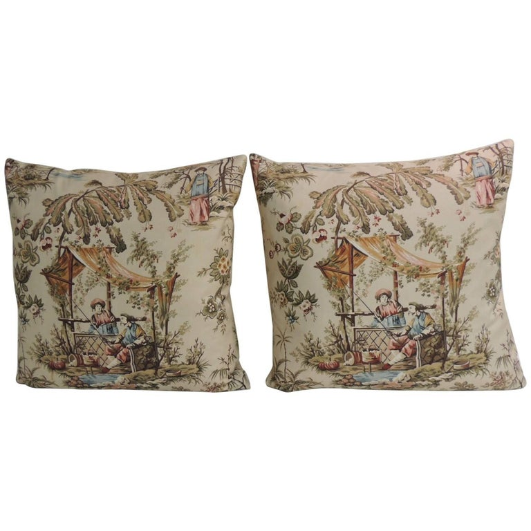 Decorative Pillows Vintage : Pair of Vintage Toile Polished Cotton Decorative Pillows For Sale at 1stdibs