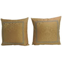 Pair of 19th Century Silk Brocade Gold Petite Decorative Pillows