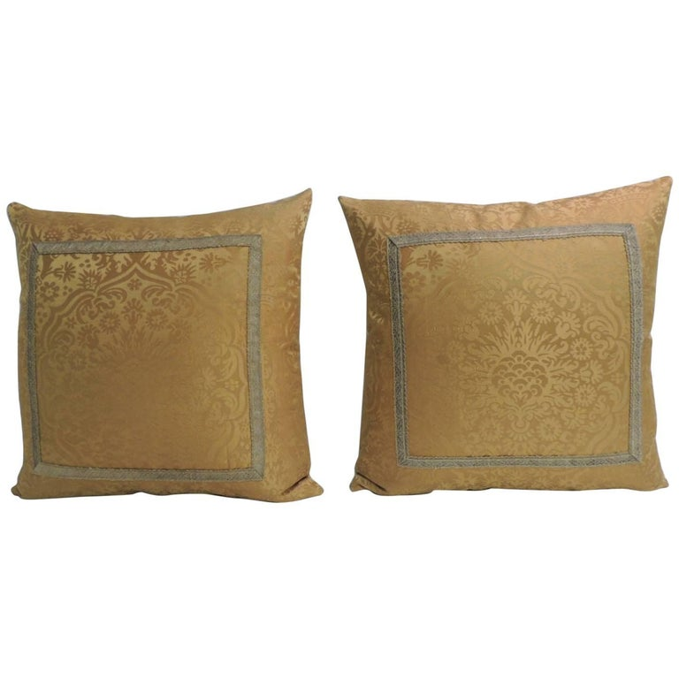 Pair of 19th Century Silk Brocade Gold Petite Decorative Pillows For Sale