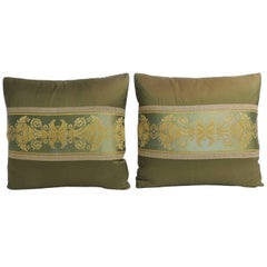 Pair of 19th Century Green and Gold French Silk Decorative Pillows
