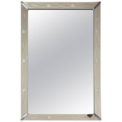 Large Art Deco Etched Wall Mirror
