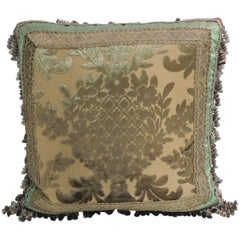 19th Century Green and Gold Silk Velvet Decorative Pillow with Tassels