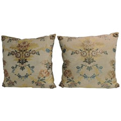 Pair of 19th Century French Silk Brocade Yellow and Blue Decorative Pillows