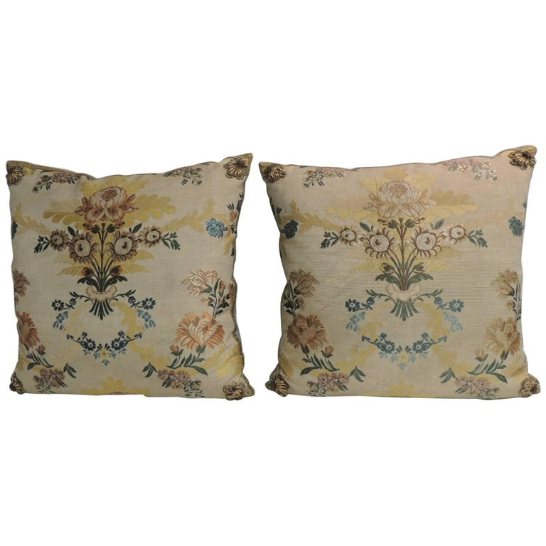 Pair of Antique French Silk Brocade Yellow and Blue Decorative Pillows For Sale