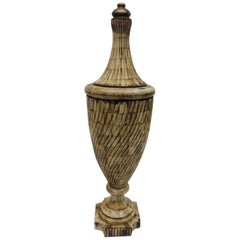 Vintage Indian Camel Bone Inlaid Tall Urn