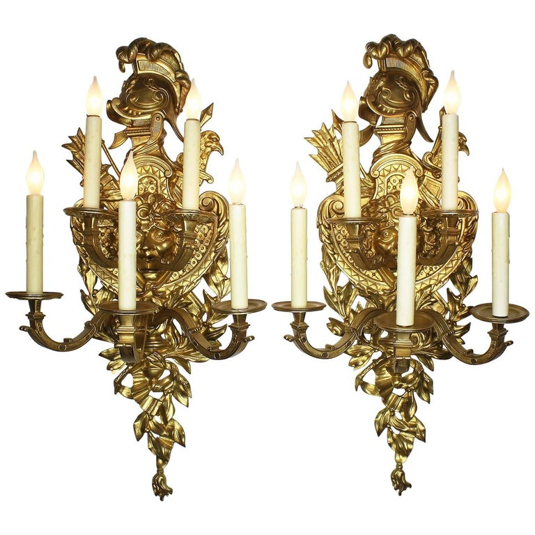 Pair of French 19th-20th Century Regency Style Gilt-Bronze Sconces after Feuchèr