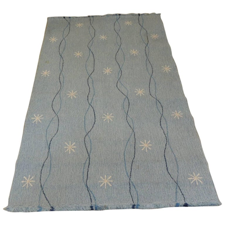 Vintage Edward Fields Infinity Star Blue and White Area Rug