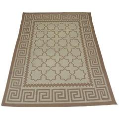 Flat-Weave Trellis Pattern Dhurrie Vintage Area Rug