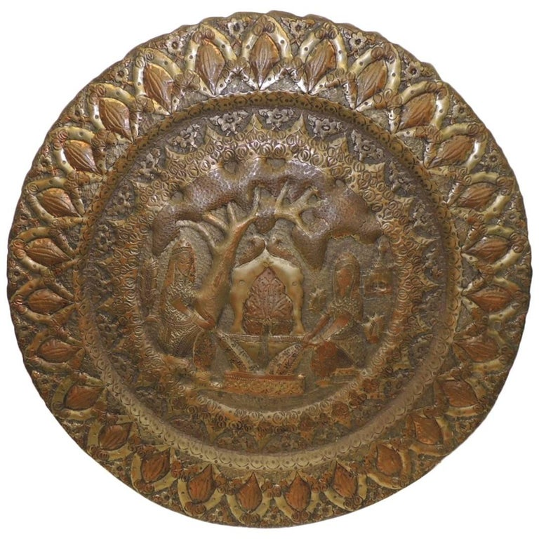 Large Vintage Repose Indian Decorative Round Tray