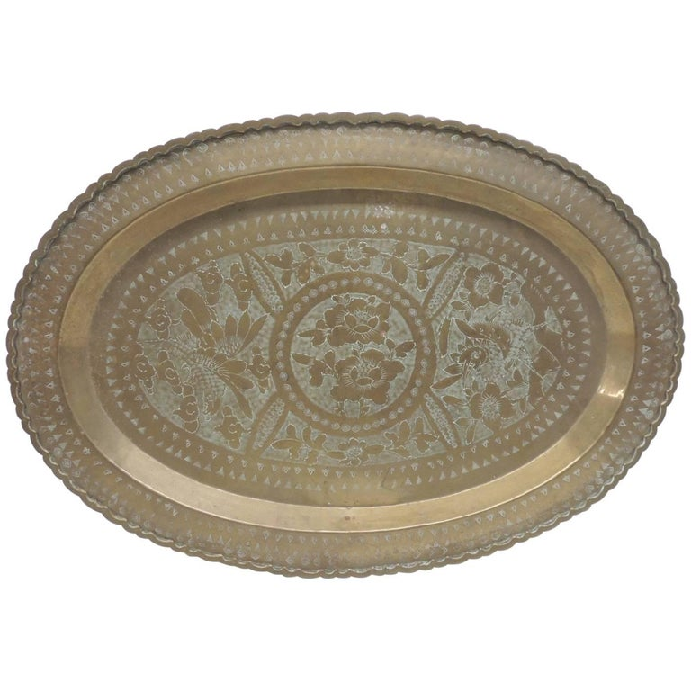 Vintage Oval Persian Brass Serving Tray