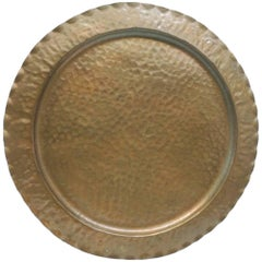 Large  Vintage Round Serving Copper Tray