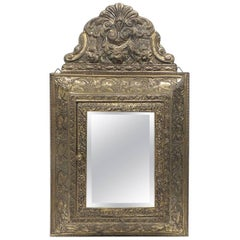 CLOSE OUT SALE: Antique Brass Vanity Reliquary with Mirrored Door & Coat Brushes