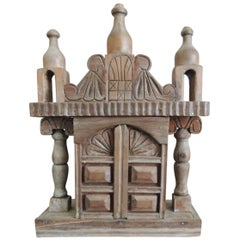 Vintage Wood Indian Hand-Carved Shrine