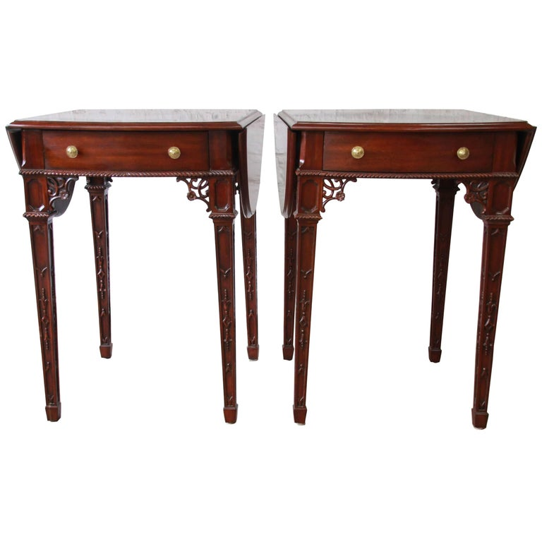 Pair of Mahogany End Tables by Maitland-Smith