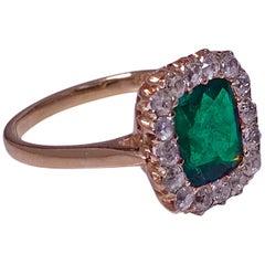 Antique Emerald and Diamond Ring, 18-Karat, English, circa 1900