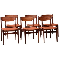 Set of Six Teak and Orange Fabric Dining Chairs
