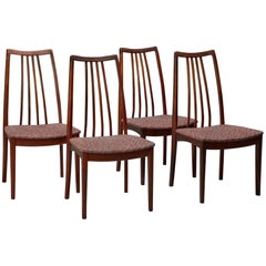 Set of Four Danish Rosewood High Back Dining Chairs