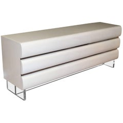 1960s Op to Pop White Lacquer with Chrome and Lucite Six-Drawer Dresser Credenza