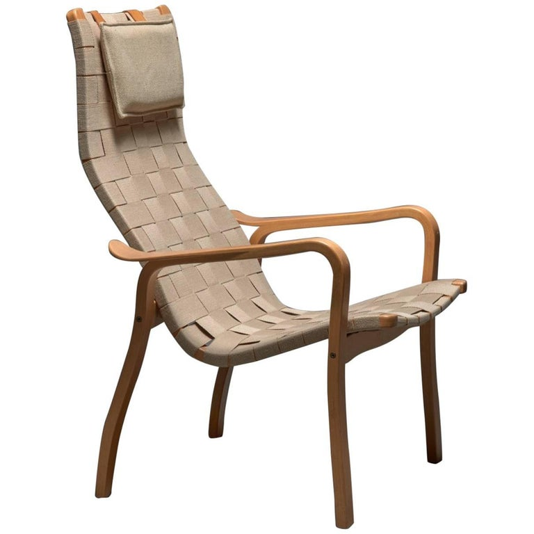 Beech and Webbing Lamino Lounge Chair by Yngve Ekstrom for Swedese For Sale at 1stdibs