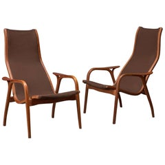 Pair of Oak and Teak Lamino Lounge Chairs by Yngve Ekstrom