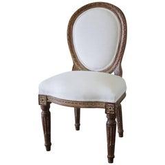 19th Century Antique Louis XVI Style Vanity Chair Upholstered in Belgian Linen