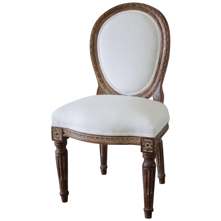 19th Century Antique Louis XVI Style Vanity Chair Upholstered in Belgian Linen For Sale