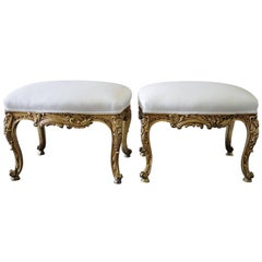 Early 20th Century Giltwood Upholstered Ottomans in White Linen