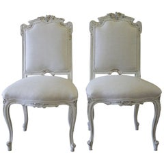 19th Century Antique Carved and Painted Rococo Style Vanity Chairs in Linen