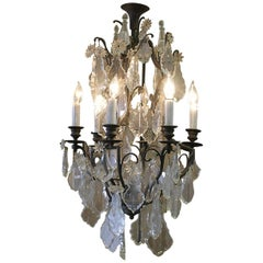 19th Century French Bronze and Crystal Six-Light Chandelier