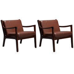 Pair of Senator Chairs by Ole Wanscher in Brown Leather