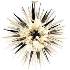 Midcentury Sputnik Spike Chandelier, Three-Color Glass Elements, Dona Furnace