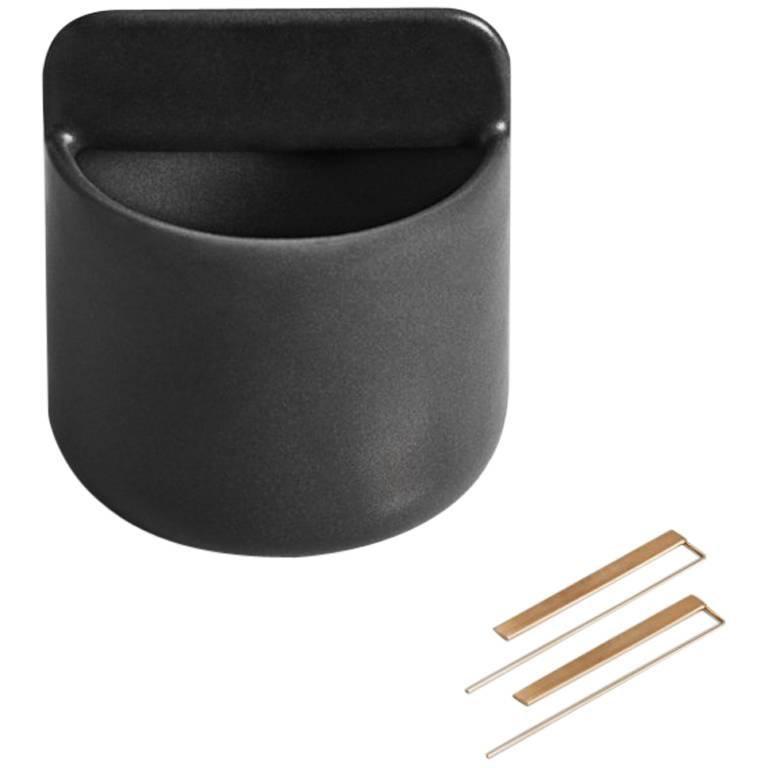 Tall Trestle Bowl / Vessel in Contemporary 3D Printed Matte Black Porcelain