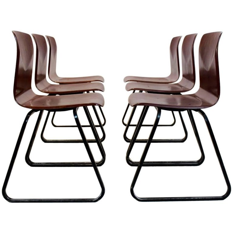 Large Stock of Brown Stackable Pagholz Galvanitas S22 Industrial Diner Chairs, 1