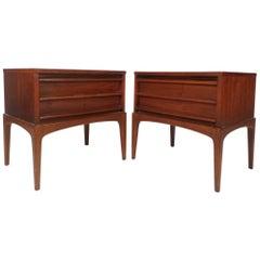 Pair of Mid-Century Modern Walnut Nightstands by Lane Furniture