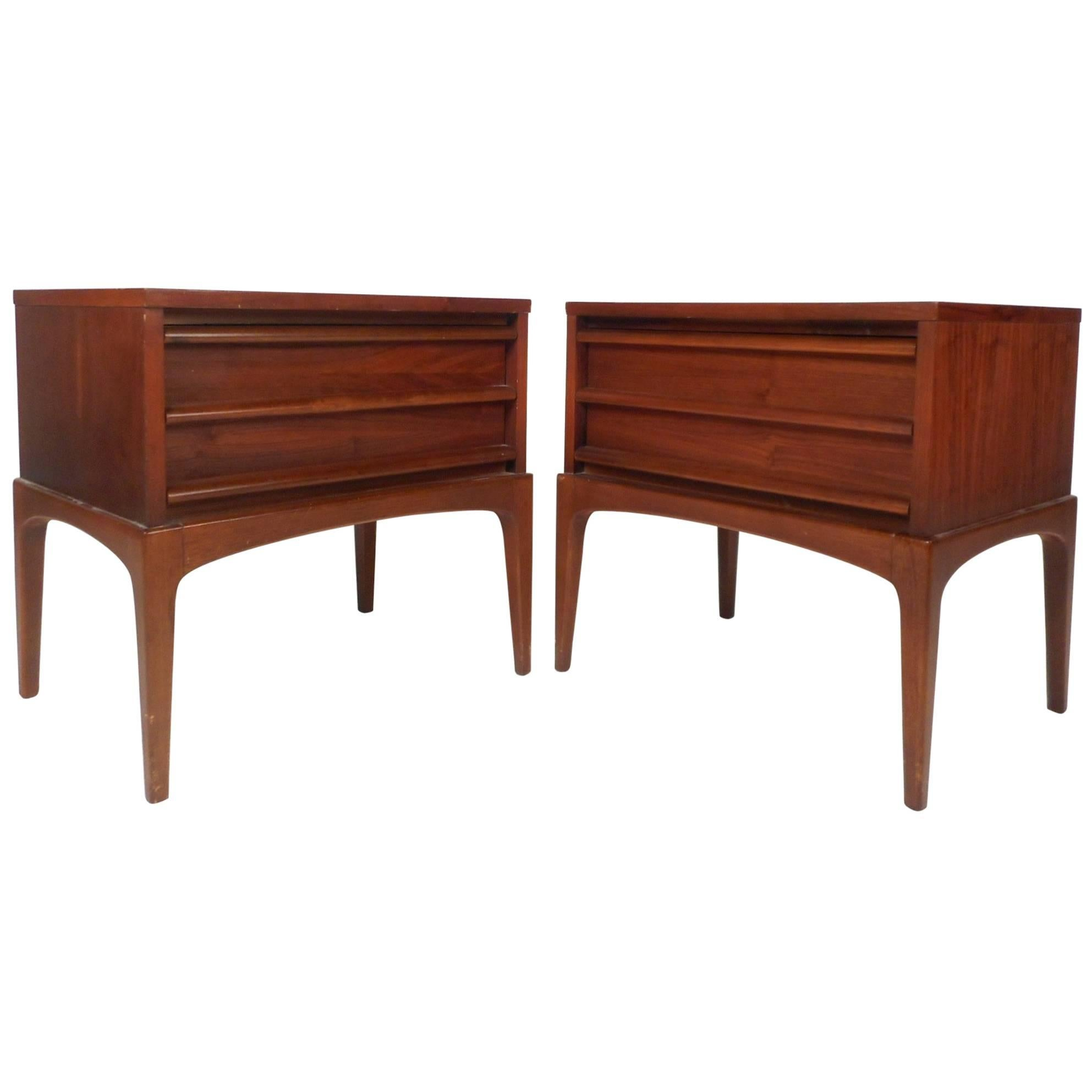 pair walnut and chrome mid century end tables by lane circa