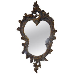 Rococo Style Hand-Carved Wooden Mirror with Gilded Details