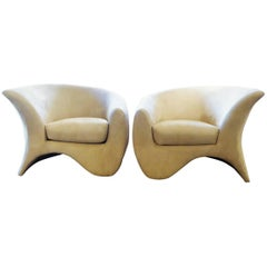 Pair of Modern Vladimir Kagan Hurricane Lounge Chairs for Directional